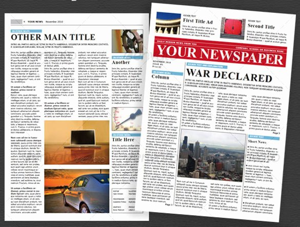 Newspaper Template Indesign Free Unique 6 School Newspaper Templates Free Sample Example
