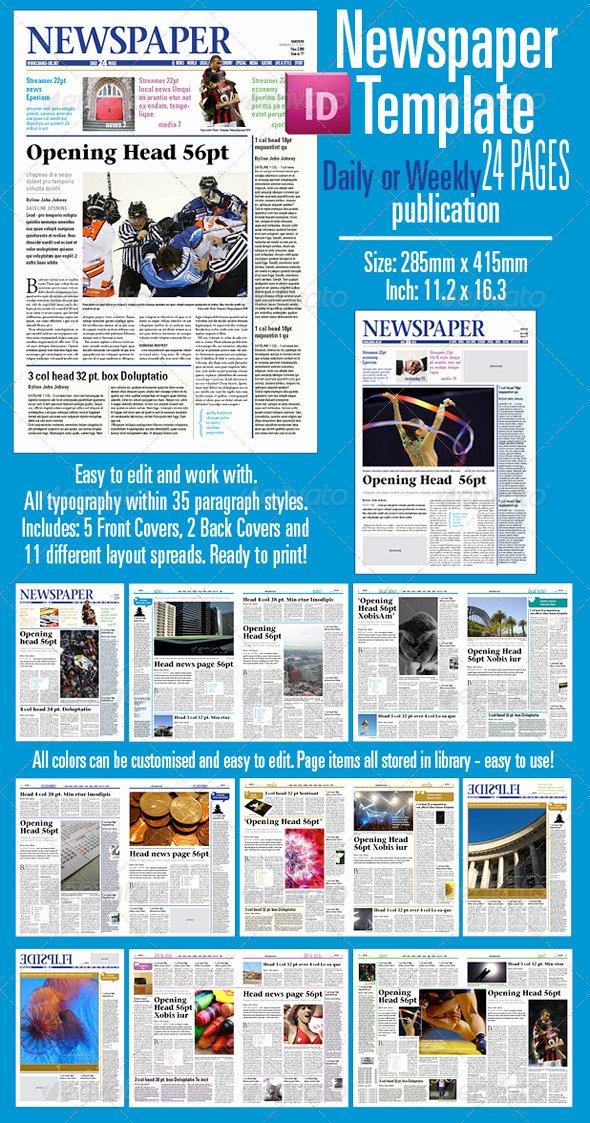 Newspaper Template Indesign Free Unique Newspaper Template