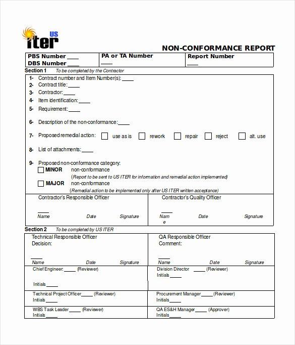 Non Conformance Report Template Fresh 16 Non Conformance Report Templates Pdf Doc Word