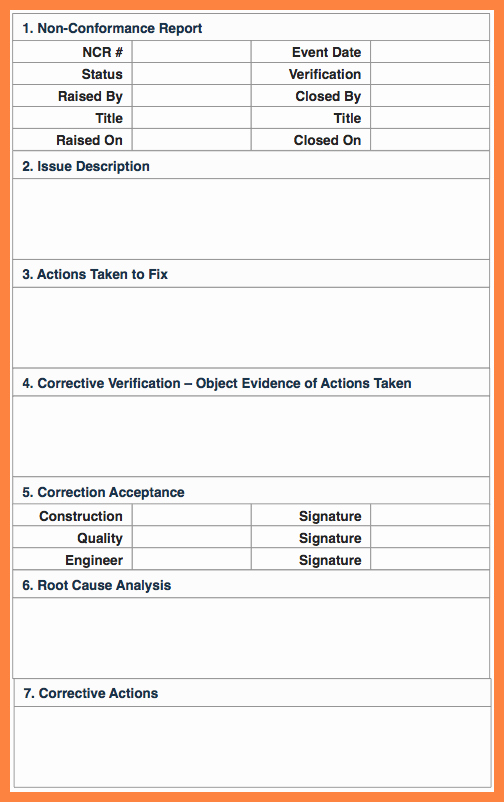 Non Conformance Report Template Fresh 7 Quality Non Conformance Report Template
