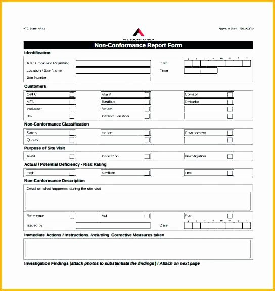 Non Conformance Report Template Fresh 92 Non Conformance Report Template Blank Non