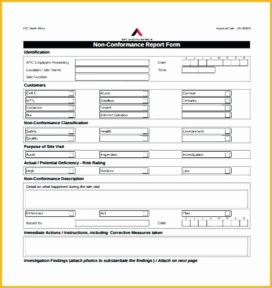 Non Conformance Report Template Fresh 92 Non Conformance Report Template Blank Non