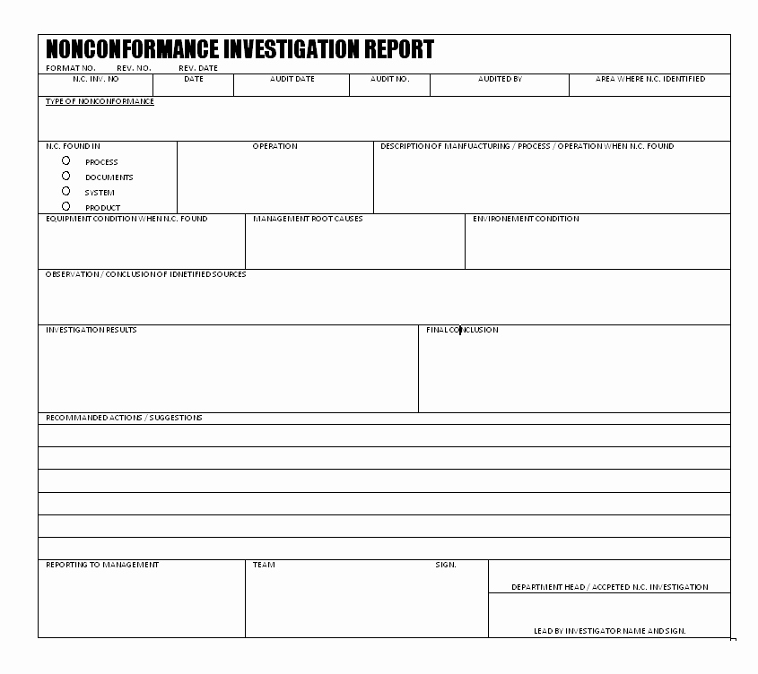 Non Conformance Report Template Inspirational Nonconformance Investigation Report format