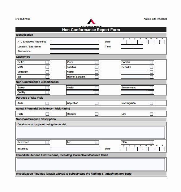 Non Conformance Report Template Unique 16 Non Conformance Report Templates Pdf Doc Word