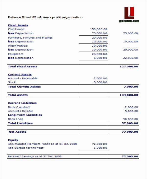 Non Profit Balance Sheet Template Beautiful 4 Non Profit Sheet Templates Free Samples Examples