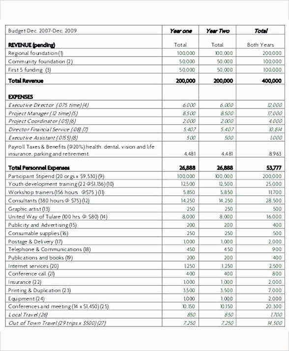 Non Profit Budget Template Excel Unique 8 Non Profit Bud Template