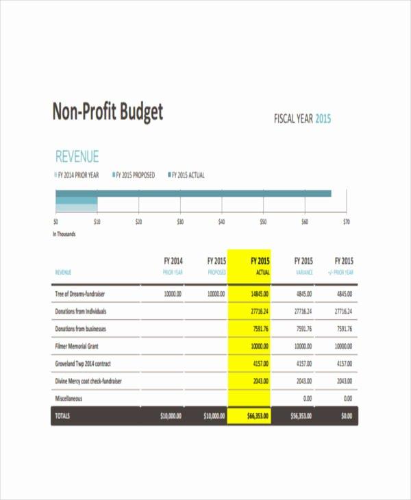 Non Profit Budget Template Fresh 6 Nonprofit Bud Templates Pdf