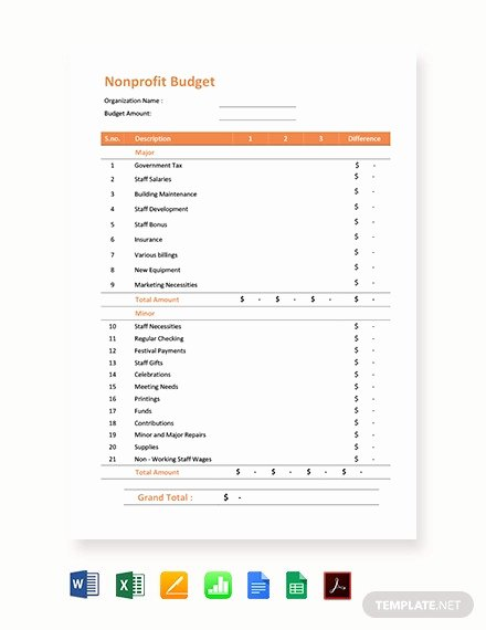 Non Profit Budget Template New 10 Nonprofit Bud Templates Word Pdf Excel