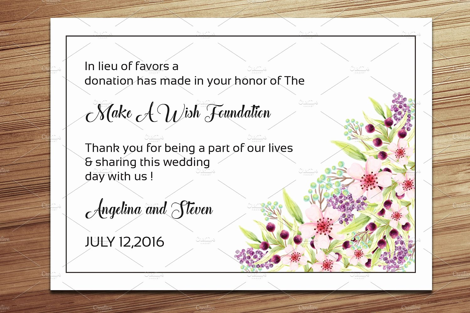 Non Profit Donation Card Template Beautiful Wedding Favor Donation Card Template Card Templates