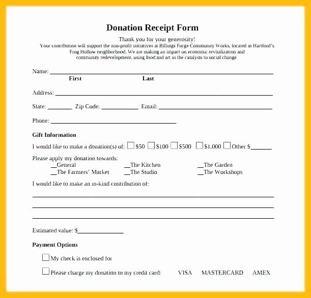 Non Profit Donation Card Template Elegant Donation Receipt Template Tax Sponsorship Non Cash Doc