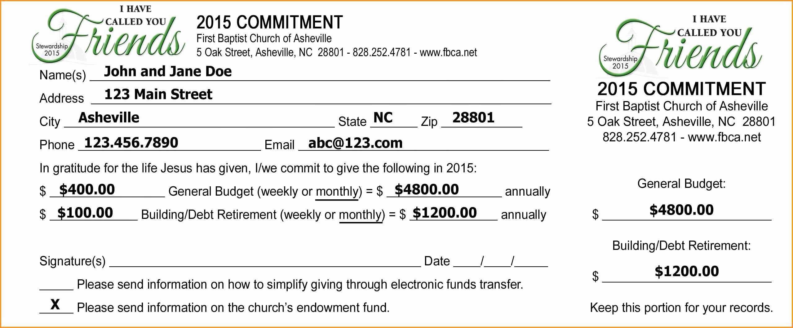 Non Profit Donation Card Template Inspirational Free Pledge Card Template