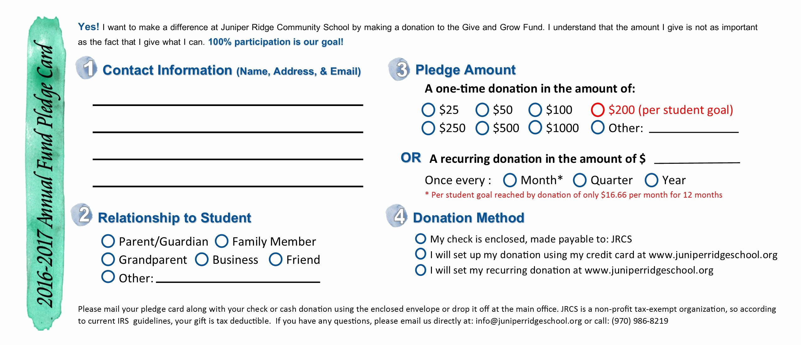 Non Profit Donation Card Template New Sample Pledge Card Non Profit Tire Driveeasy