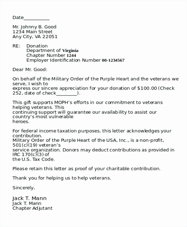 Non Profit Donation Letter Template Awesome Letters Veterans Examples Personal Thank You Letter Sample