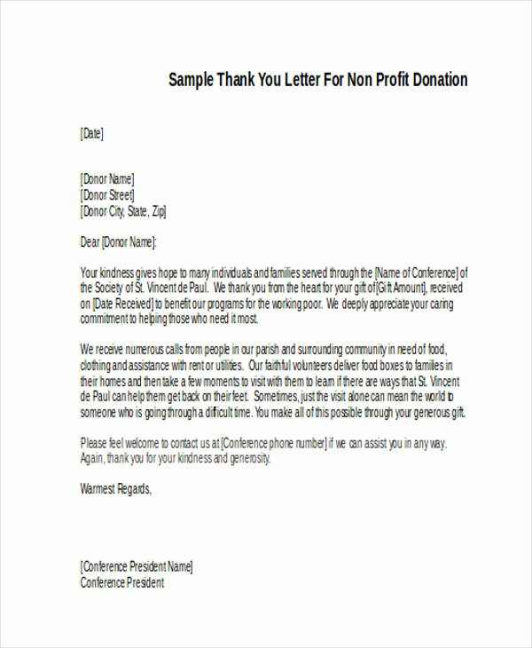 Non Profit Donation Letter Template Lovely 73 Thank You Letter Examples Doc Pdf