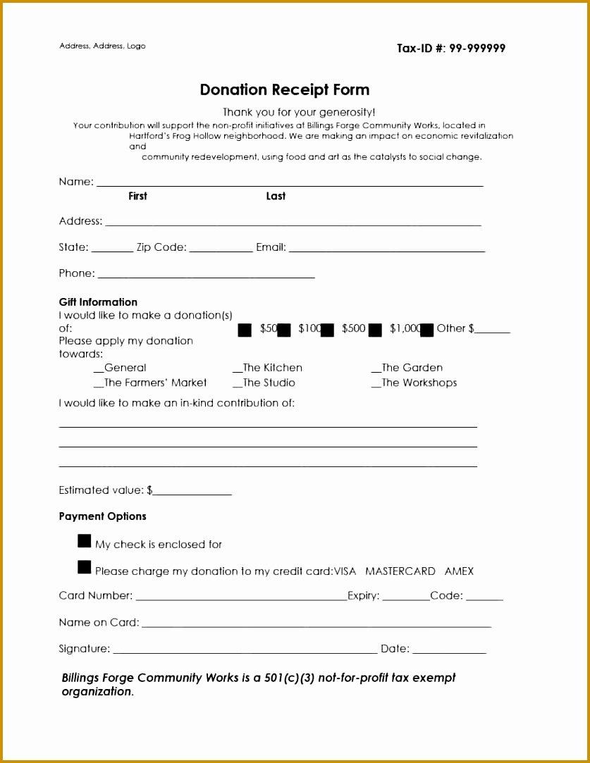 Non Profit Donation Receipt Template Best Of 4 Tax Donation Receipt form Template