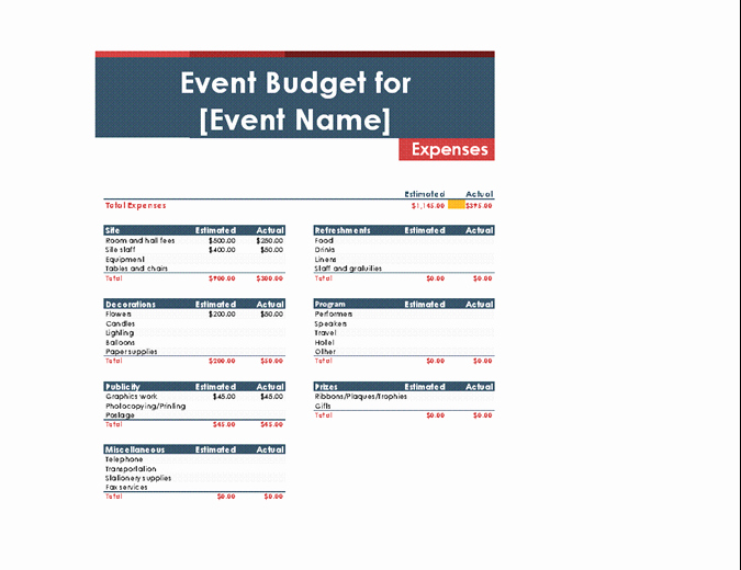 Non Profit event Planning Template Unique Bud S Fice