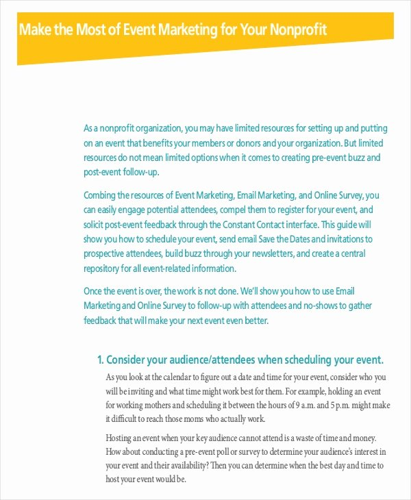 Non Profit Marketing Plan Template Luxury event Marketing Plan Template 11 Free Word Documents