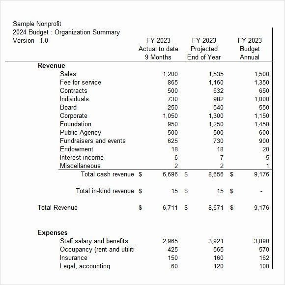 Non Profit organization Budget Template Beautiful 7 Non Profit Bud Templates – Pdf Excel