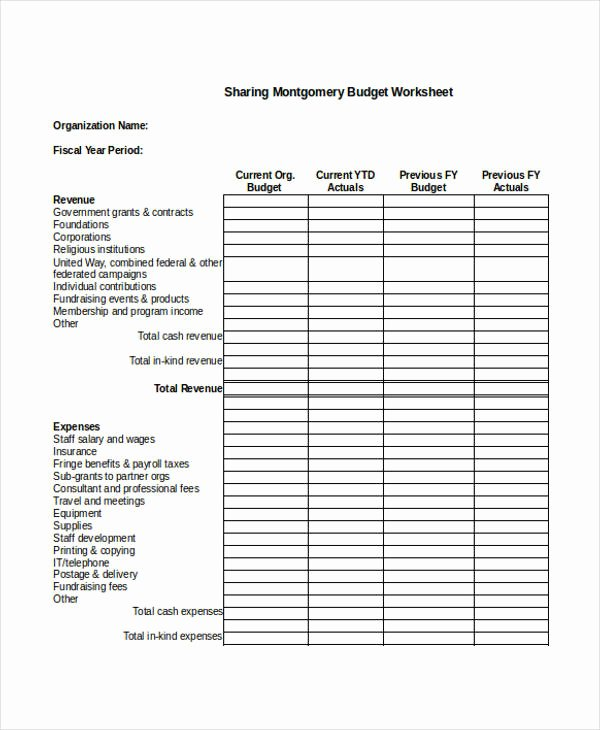 Non Profit organization Budget Template Elegant Nonprofit Sheet Templates 6 Free Word Pdf format