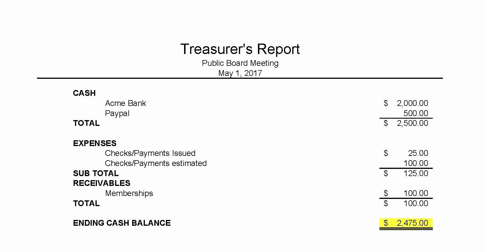 Non Profit Treasurer Report Template Fresh Treasurers Report Templateasurer Essential Print S Maggi
