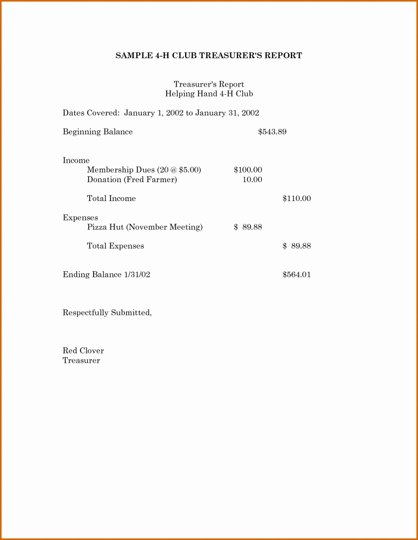 Non Profit Treasurer Report Template Unique Treasurers Report Template Non Profit Excel Beautiful