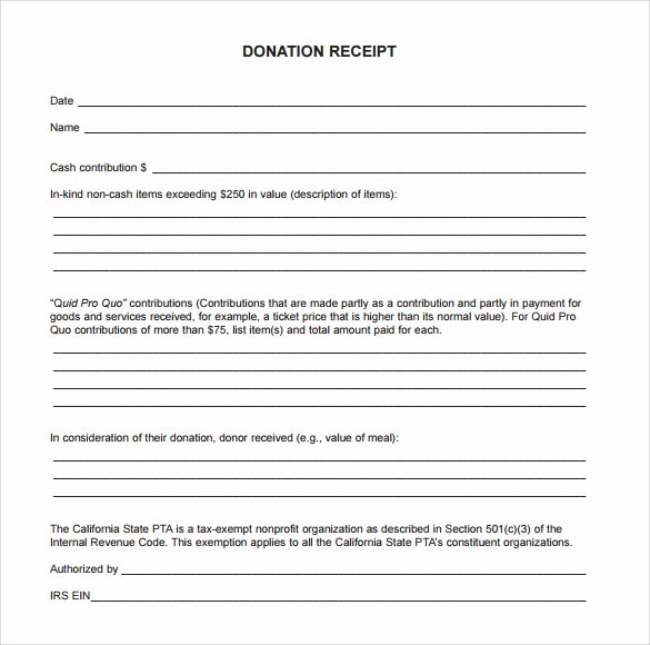 Nonprofit Donation Receipt Template Fresh 23 Donation Receipt Templates – Pdf Word Excel Pages