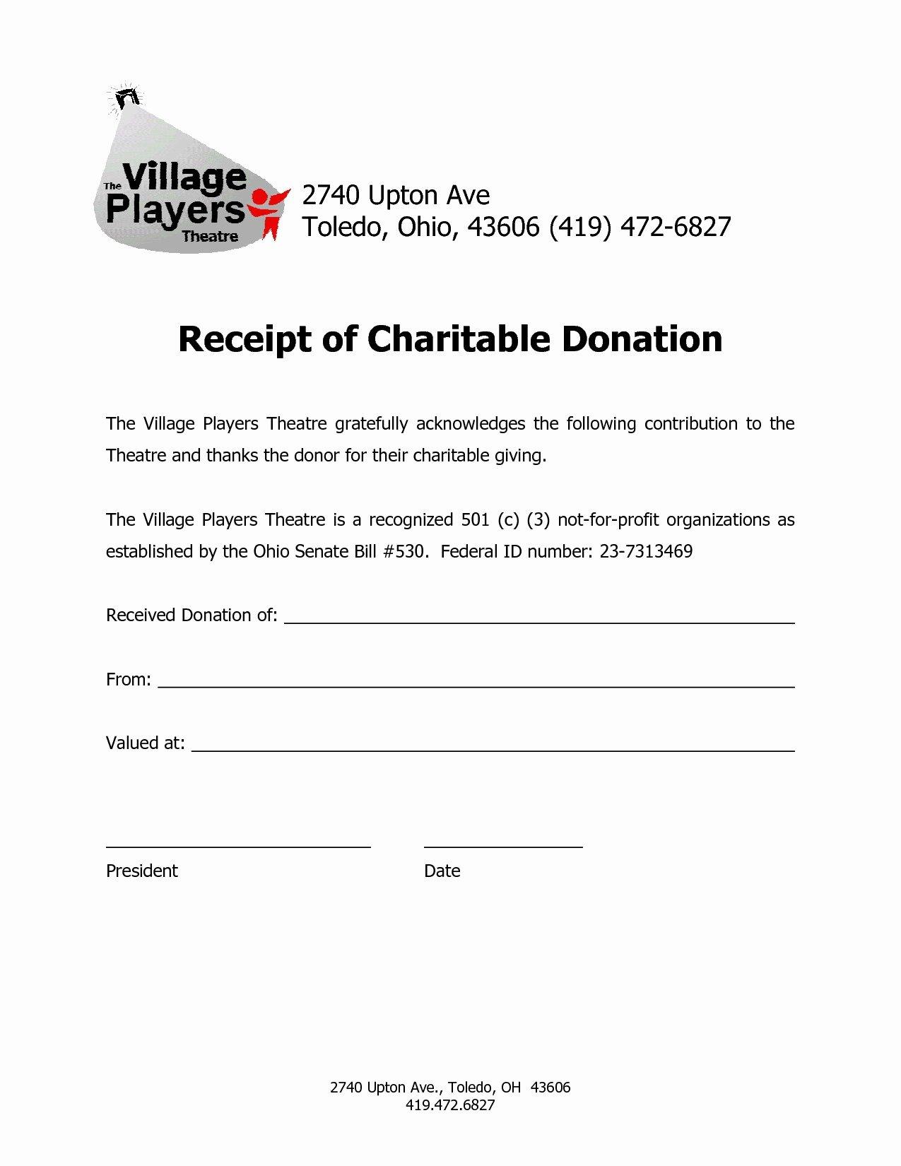 Nonprofit Donation Receipt Template Inspirational Non Profit Tax Deduction Letter Template Collection