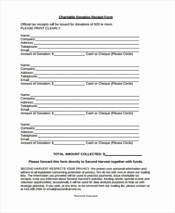 Nonprofit Donation Receipt Template Lovely Receipt form In Pdf