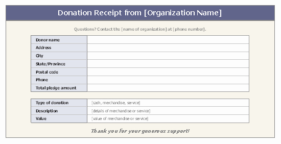 Nonprofit Donation Receipt Template Unique Donation Receipt