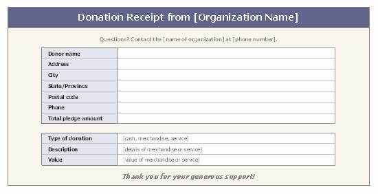 Nonprofit Donation Receipt Template Unique Donation Receipt