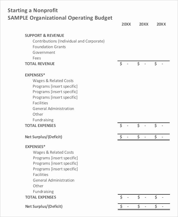 Nonprofit Operating Budget Template Lovely 8 Non Profit Bud Templates Word Pdf Excel