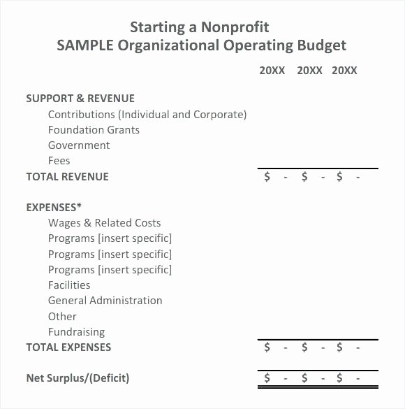 Nonprofit Operating Budget Template New Annual Operating Bud for Services organization Template