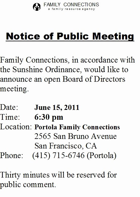 Notice Of Board Meeting Template Beautiful Family Connections 2011 May