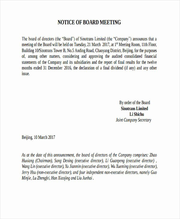 Notice Of Board Meeting Template Fresh 43 Notice Examples & Samples In Pdf