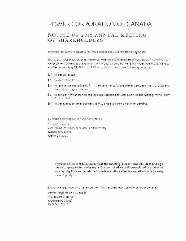 Notice Of Board Meeting Template Fresh Board Meeting Notice format Panies Act A Mittee