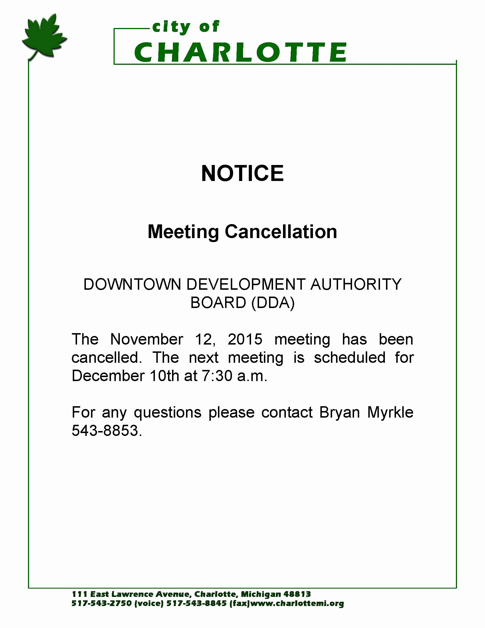 Notice Of Board Meeting Template Inspirational Notice Of Meeting Cancellation for the Downtown