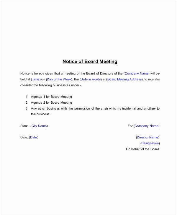 Notice Of Board Meeting Template Luxury 14 Meeting Notice Examples & Samples Pdf Word