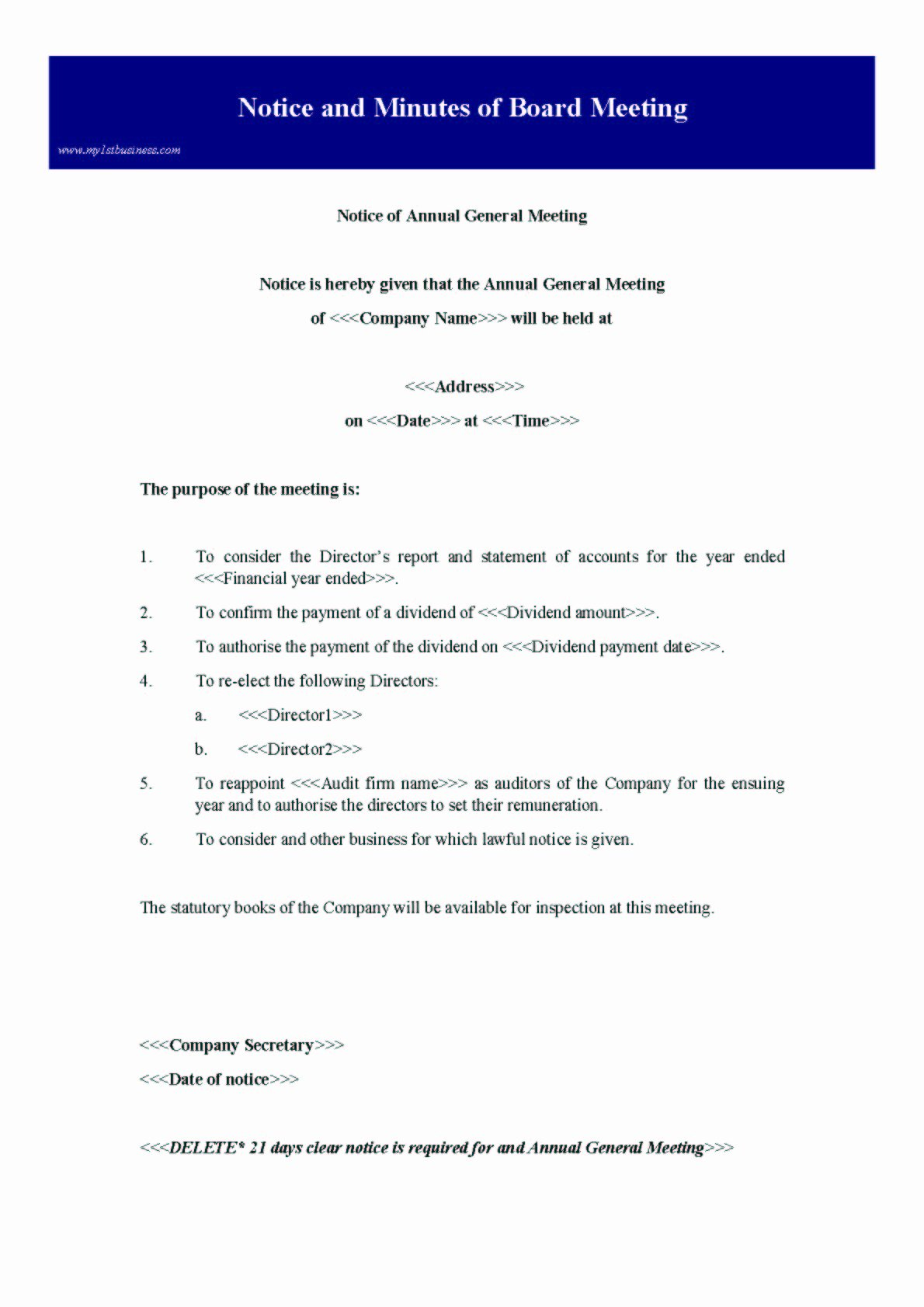 Notice Of Board Meeting Template Luxury Notice and Minutes Of Board Meeting Preview