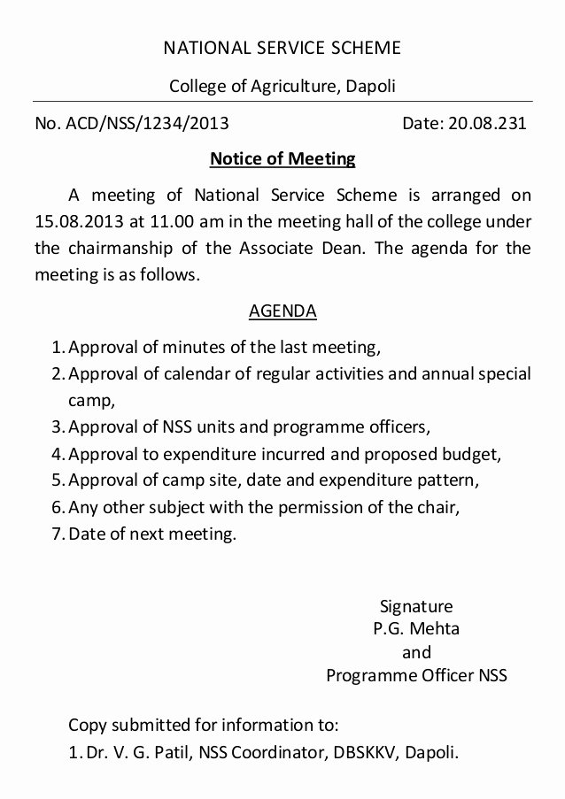 Notice Of Board Meeting Template Luxury Notice for Convening Meeting