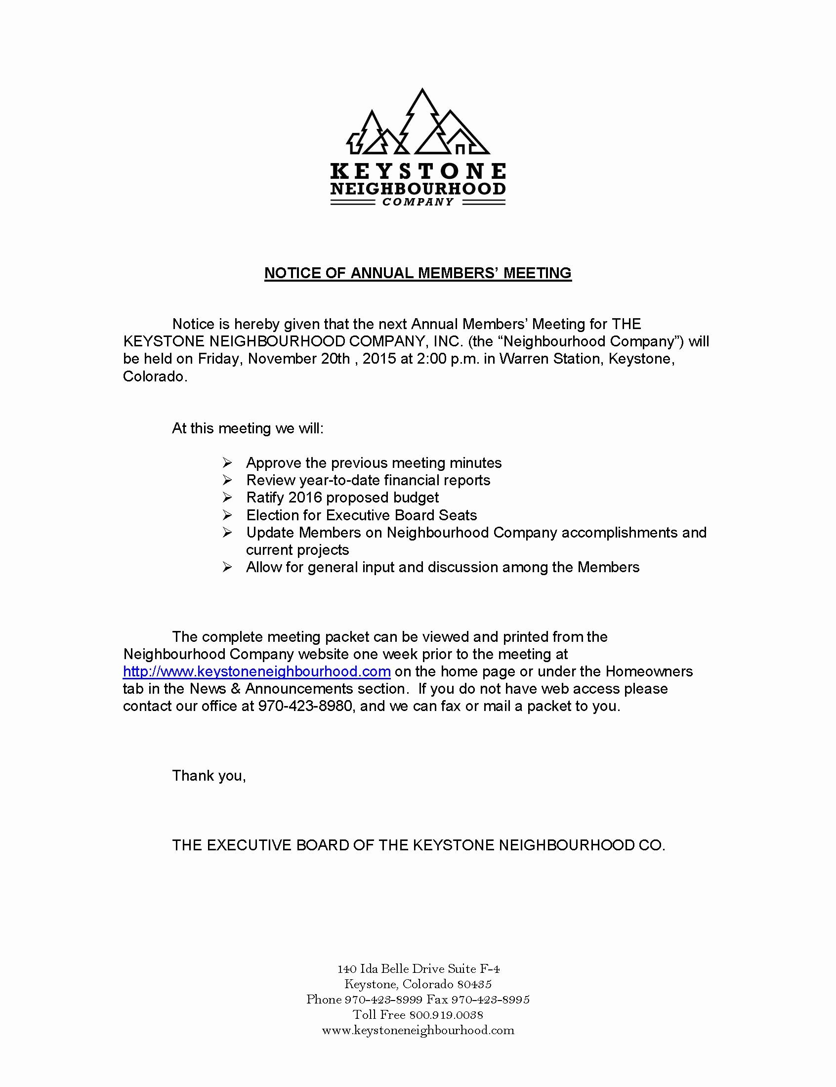 Notice Of Board Meeting Template Luxury Notice Of Annual Members Meeting & Call to Candidates