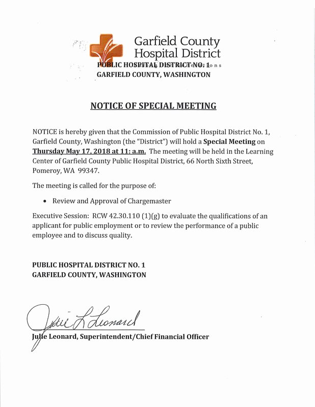 Notice Of Board Meeting Template Luxury Notice Of Special Meeting May 17 2018 Garfield County