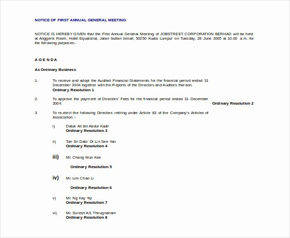 Notice Of Board Meeting Template New 29 Notice Of Meeting Templates Pdf Google Docs Ms