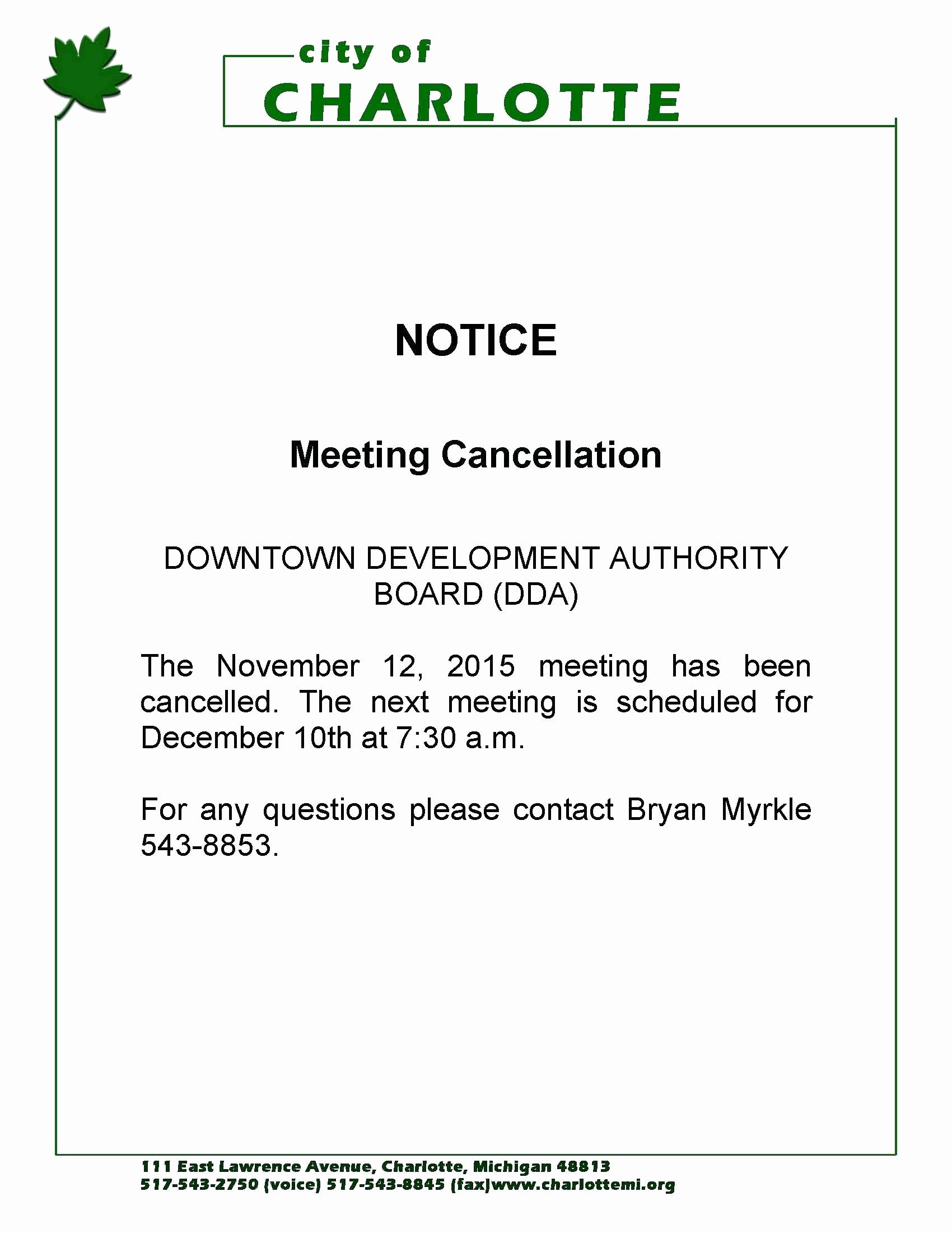 Notice Of Board Meeting Template Unique Template Cancellation Notice Template