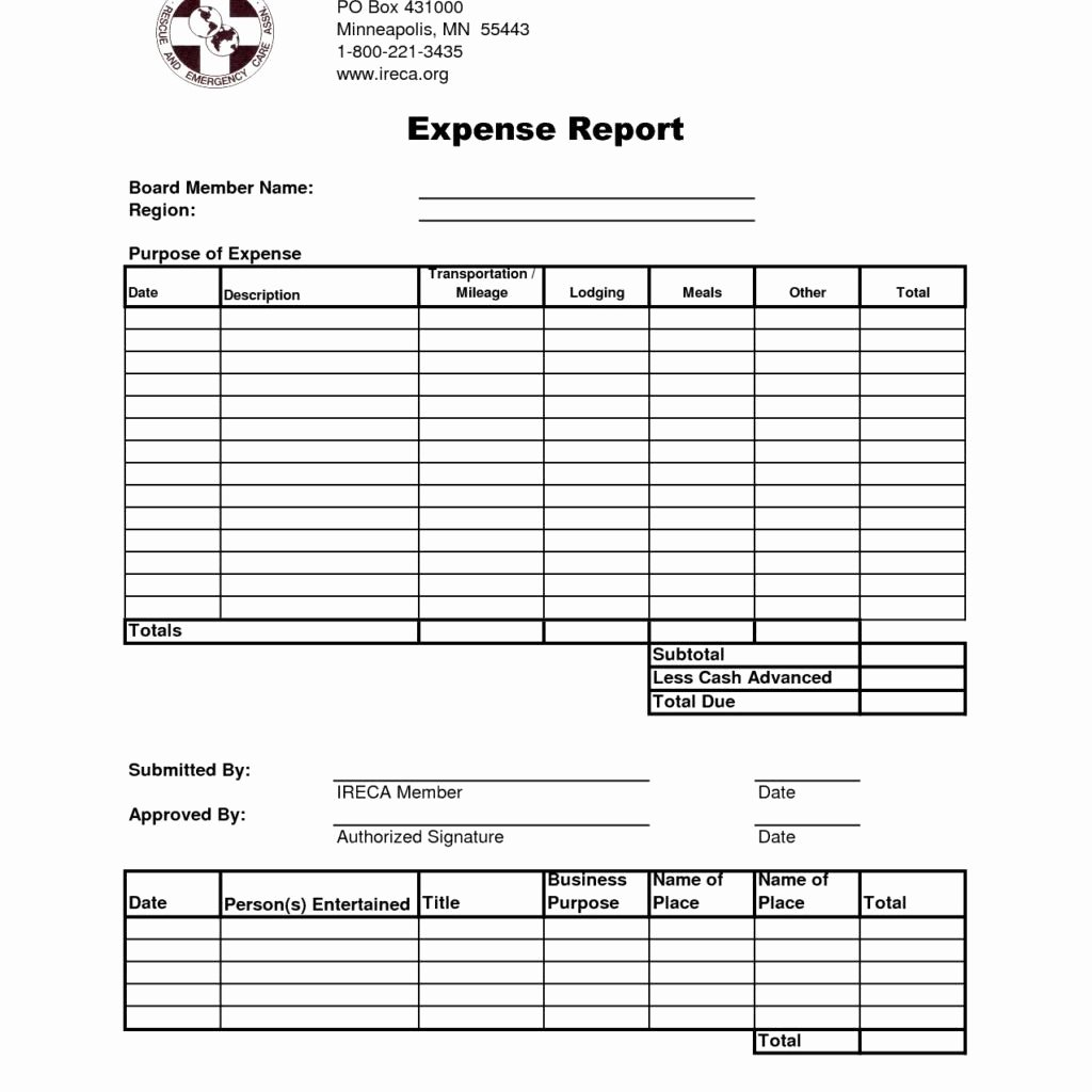 Numbers Expense Report Template New Expense Report Template with Mileage and Expense Report