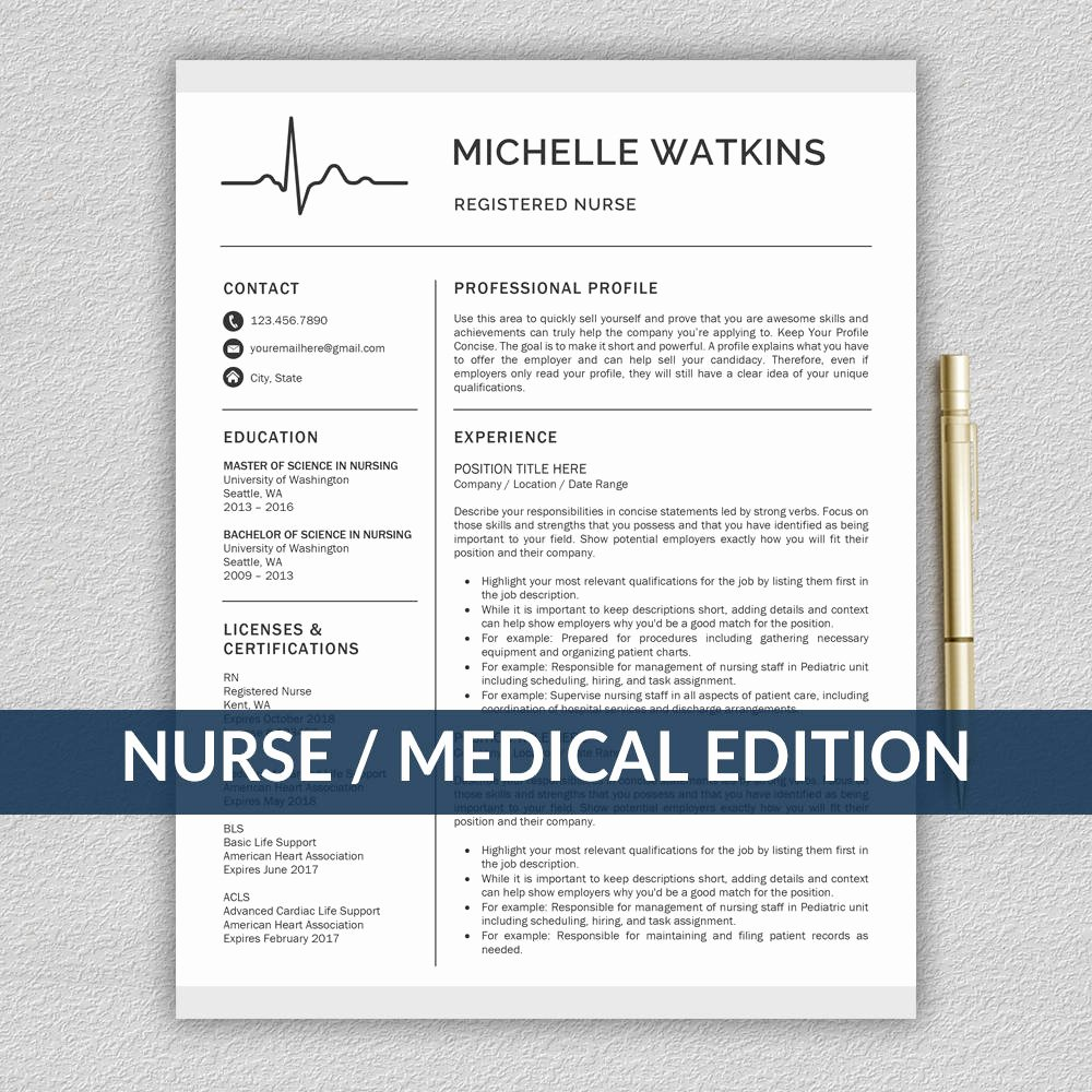 Nurse Resume Template Word Beautiful Nurse Resume Template for Word Medical Resume Nurse Cv