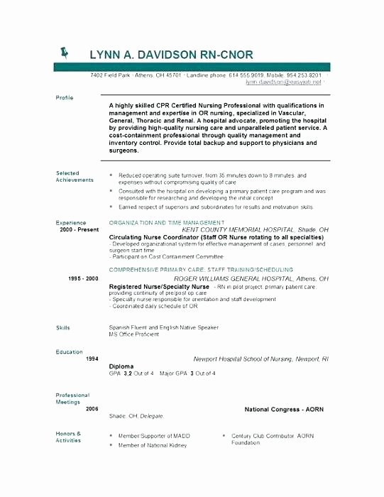 Nurse Resume Template Word Elegant Curriculum Vitae Example Registered Nurse Resume Template