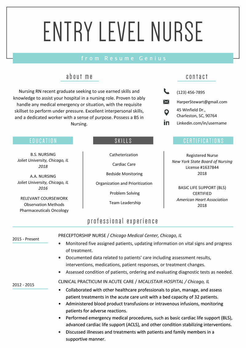 Nurse Resume Template Word Elegant Entry Level Nurse Resume Sample