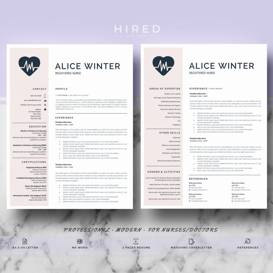 Nurse Resume Template Word Elegant Nurse Template Archivos Hired Design Studio