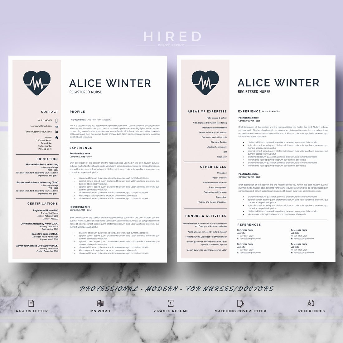 Nurse Resume Template Word Fresh Resume Templates Hired Design Studio