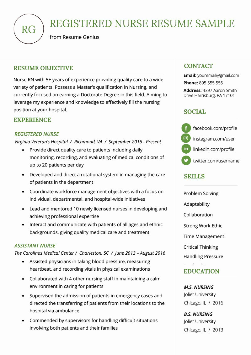 Nurse Resume Template Word Inspirational Nursing Resume Sample & Writing Guide